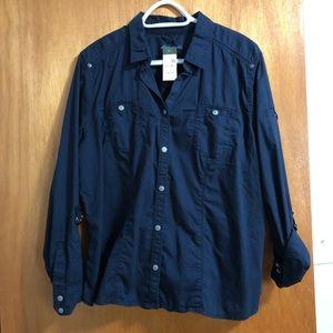 NWT Eddie Bauer navy blue button up shirt